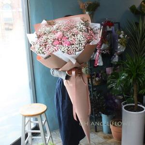피치안개 & 핑크장미 대형꽃다발(대전만 가능)
