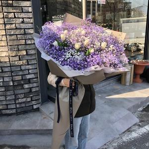 보라안개 장미 대형꽃다발 (대전만 가능)